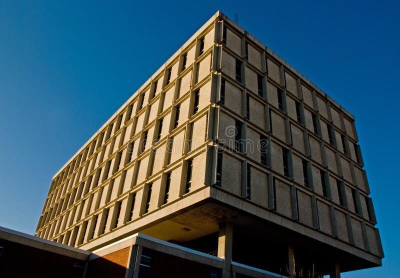 School building on blue sky stock photography