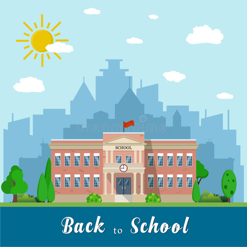 School building and bus royalty free illustration