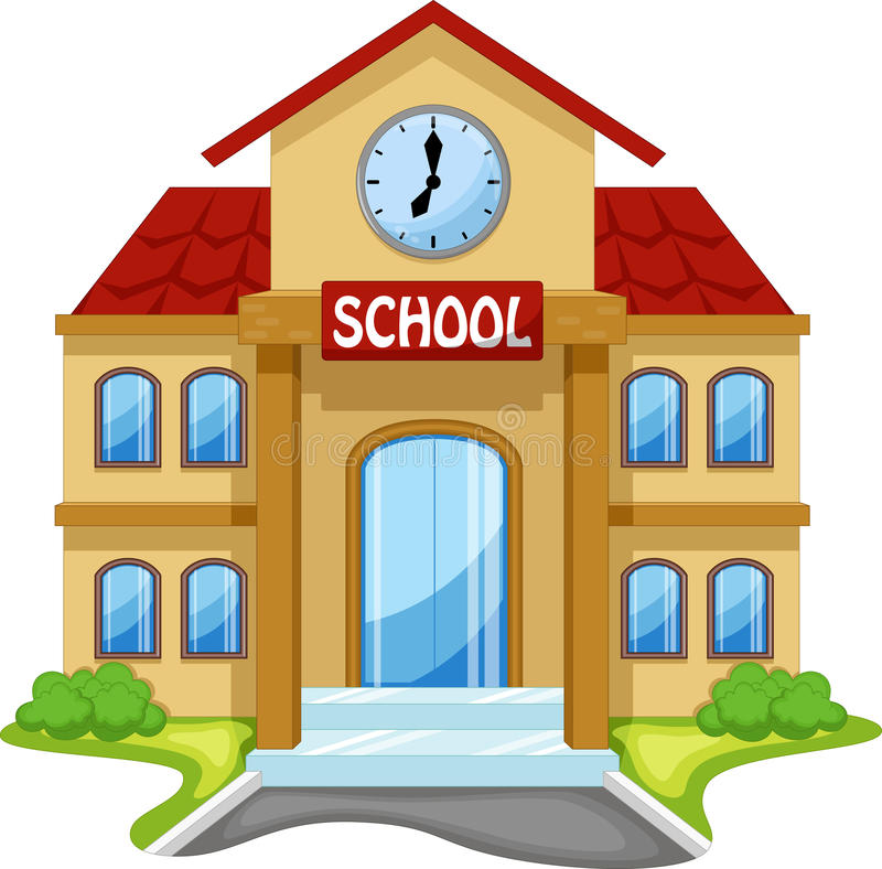 School building cartoon stock illustration
