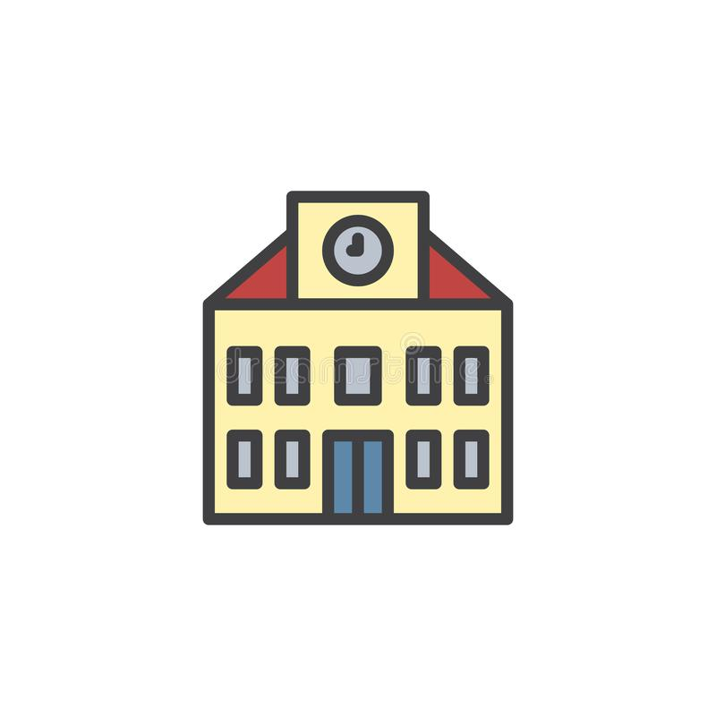 School building with clock filled outline icon. Line vector sign, linear colorful pictogram isolated on white. Education symbol, logo illustration. Pixel stock illustration