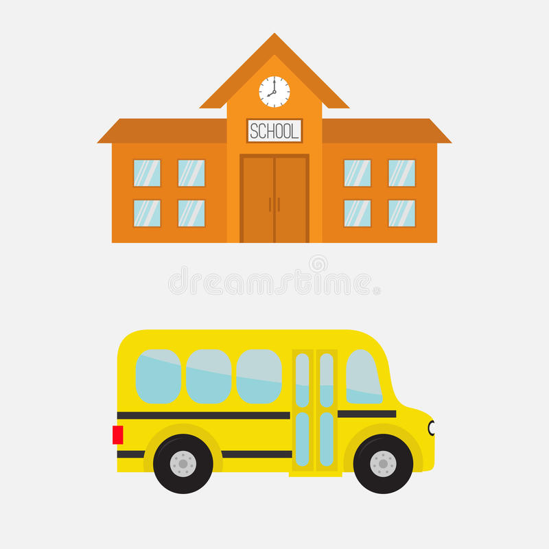 Download School Building With Clock And Windows City Construction Yellow Bus Kids
