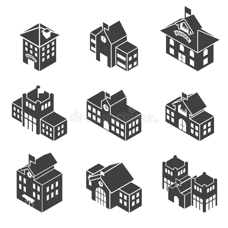 School building 3d isometric stock vector illustration for Build house online 3d free