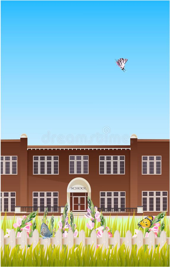 School building and empty front yard with green grass royalty free illustration