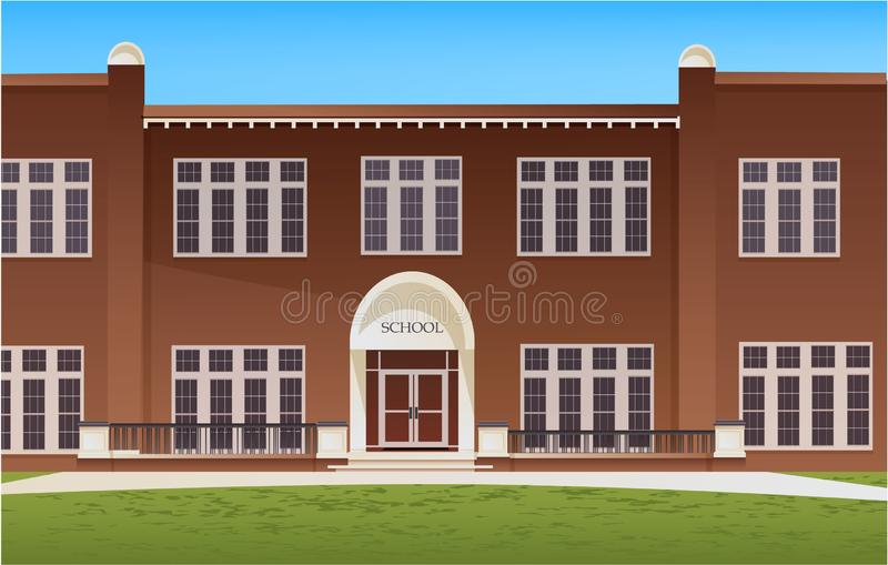 School building and empty front yard with grass royalty free illustration