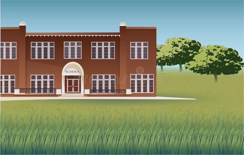 School building and empty front yard with green grass vector illustration