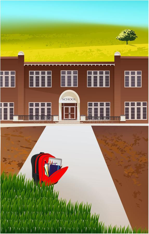 School building and empty front yard with green grass stock illustration