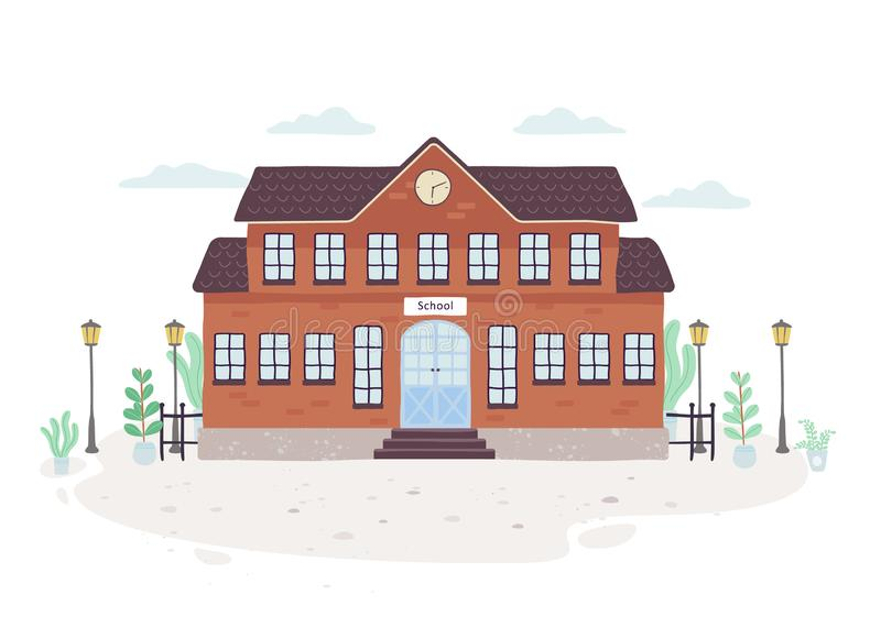 School building. Exterior of the education house stock illustration