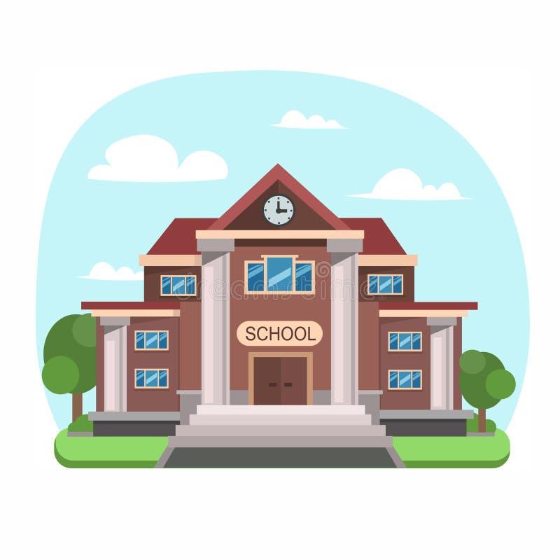 School Building Front View. Vector vector illustration