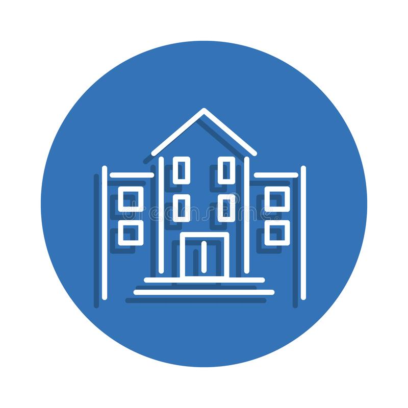 School building icon. Element of education for mobile concept and web apps icon. Thin line icon with shadow in badge for website d. Esign and development, app royalty free illustration