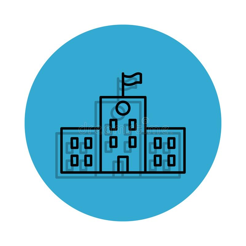 School building icon. Element of school for mobile concept and web apps icon. Thin line icon with shadow in badge for website desi. Gn and development, app vector illustration