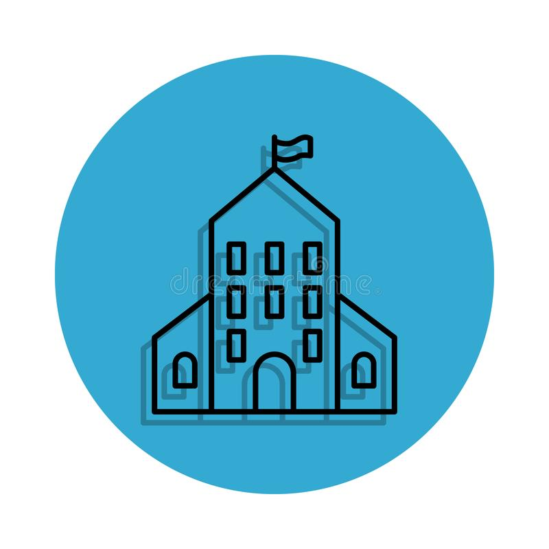 School building icon. Element of school for mobile concept and web apps icon. Thin line icon with shadow in badge for website desi. Gn and development, app stock illustration