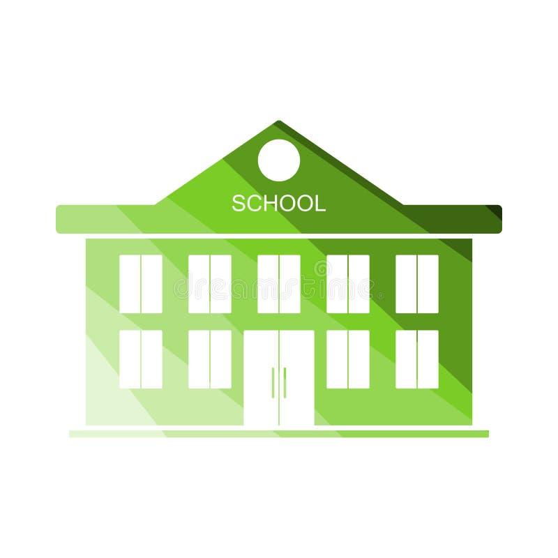School Building Icon. Flat Color Ladder Design. Vector Illustration royalty free illustration