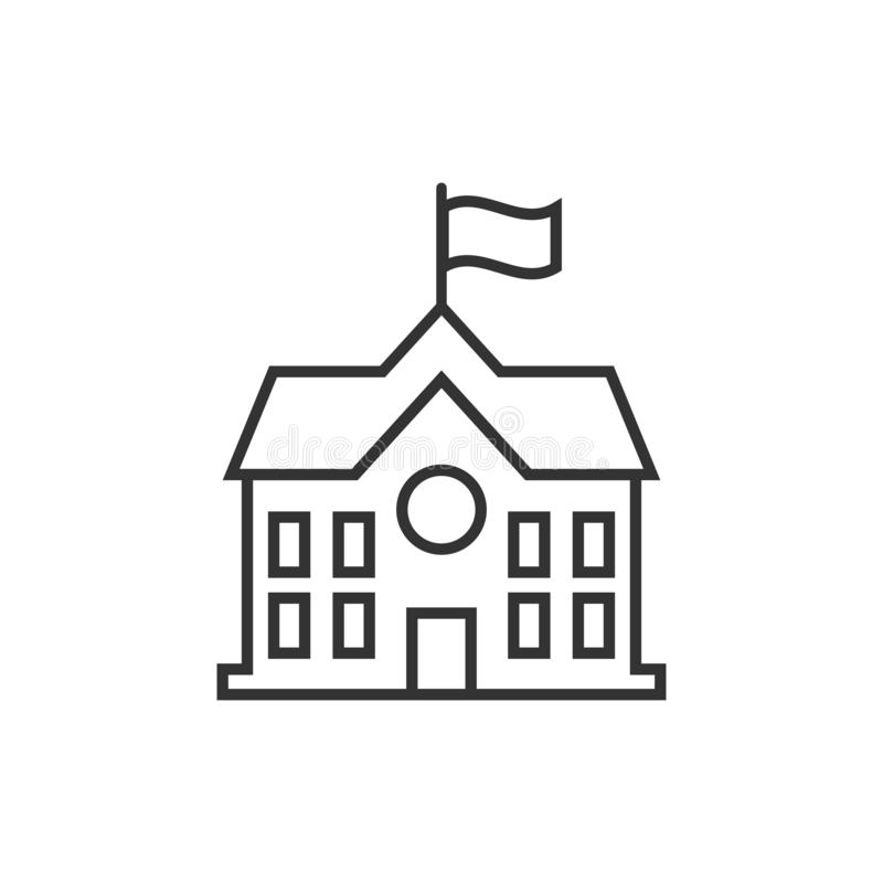 School building icon in flat style. College education vector ill. Ustration on white isolated background. Bank, government business concept stock illustration