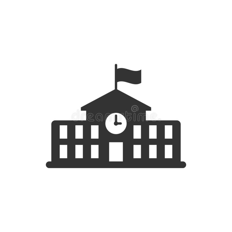 School building icon in flat style. College education vector ill. Ustration on white isolated background. Bank, government business concept royalty free illustration