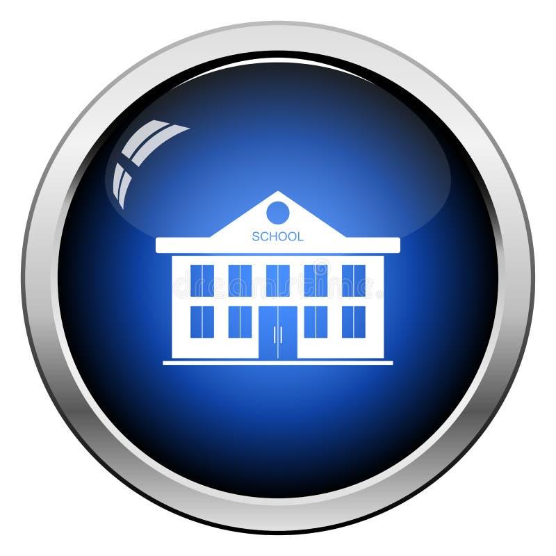 School Building Icon. Glossy Button Design. Vector Illustration royalty free illustration