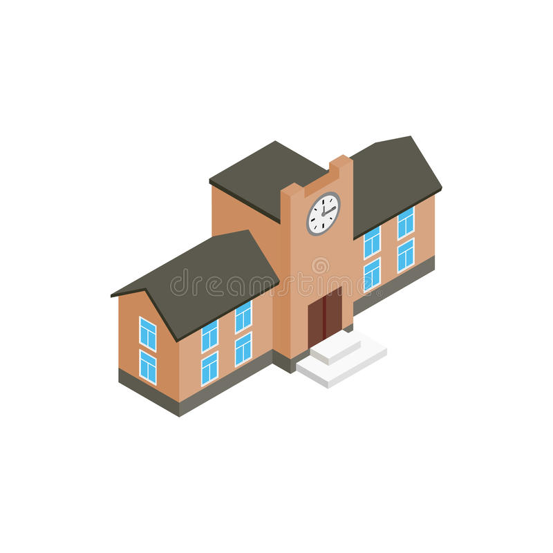 School building icon, isometric 3d style royalty free illustration