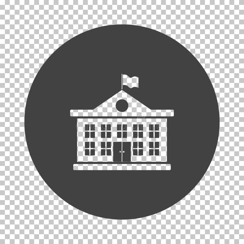 School building icon. Subtract stencil design on tranparency grid. Vector illustration royalty free illustration