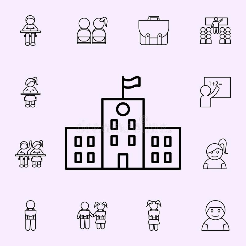School building icon. School icons universal set for web and mobile. On color background stock illustration