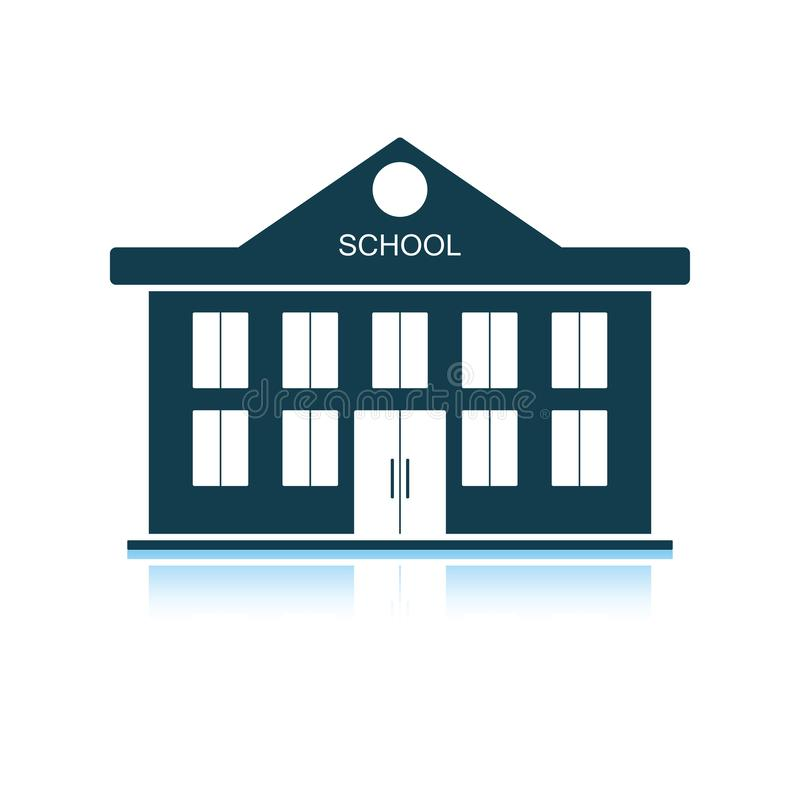 School building icon. Shadow reflection design. Vector illustration stock illustration
