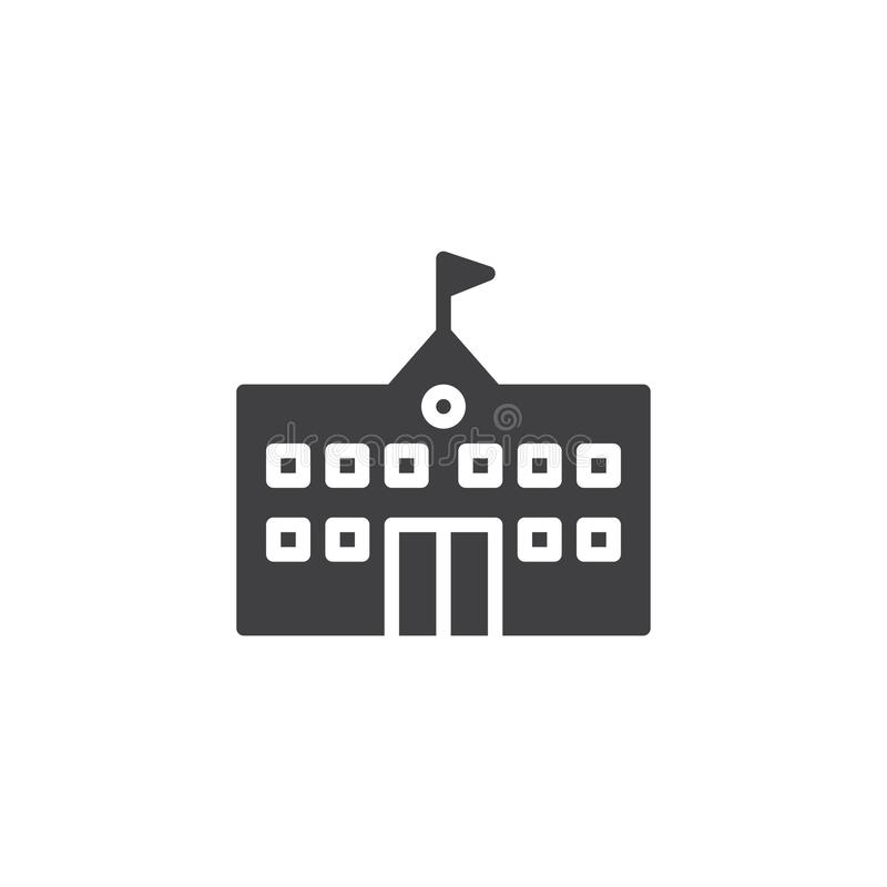 School building icon vector. Filled flat sign, solid pictogram isolated on white. Symbol, logo illustration stock illustration