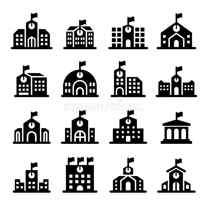 School building icon royalty free illustration
