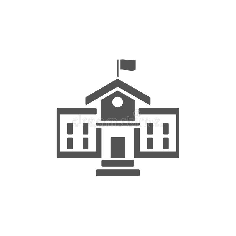 School building icon. On a white background vector illustration