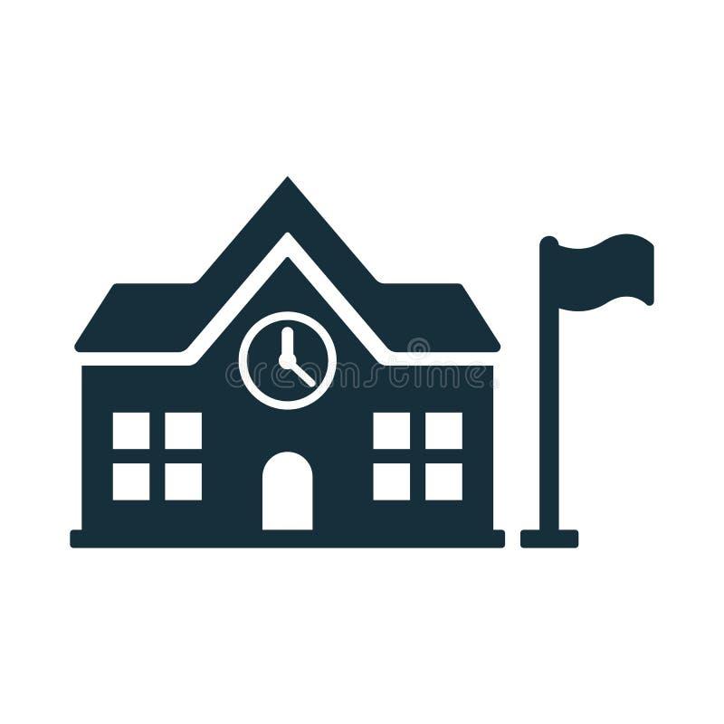 School building icon on white background. Simple black school building icon on white background royalty free illustration
