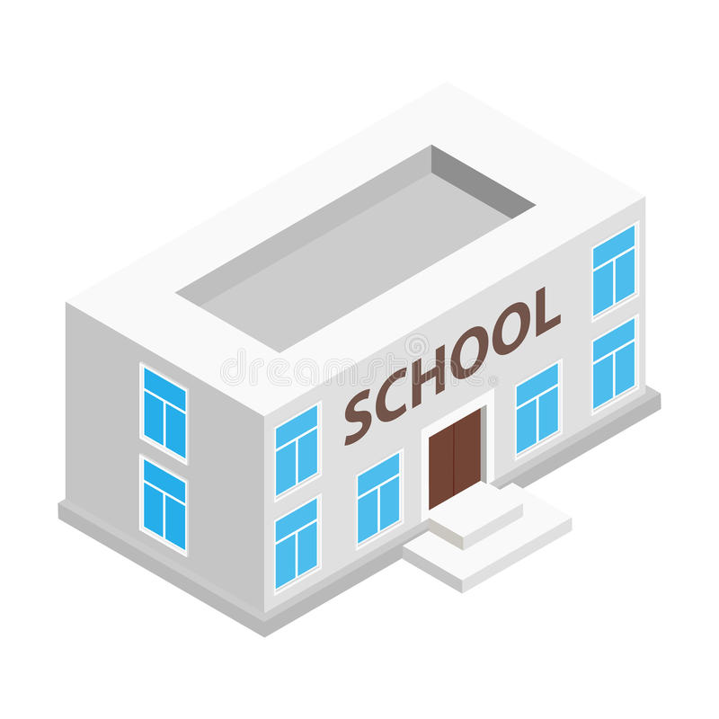 School building isometric 3d icon vector illustration