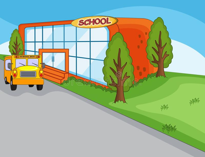 School building, landmark and school bus cartoon. Full color stock illustration