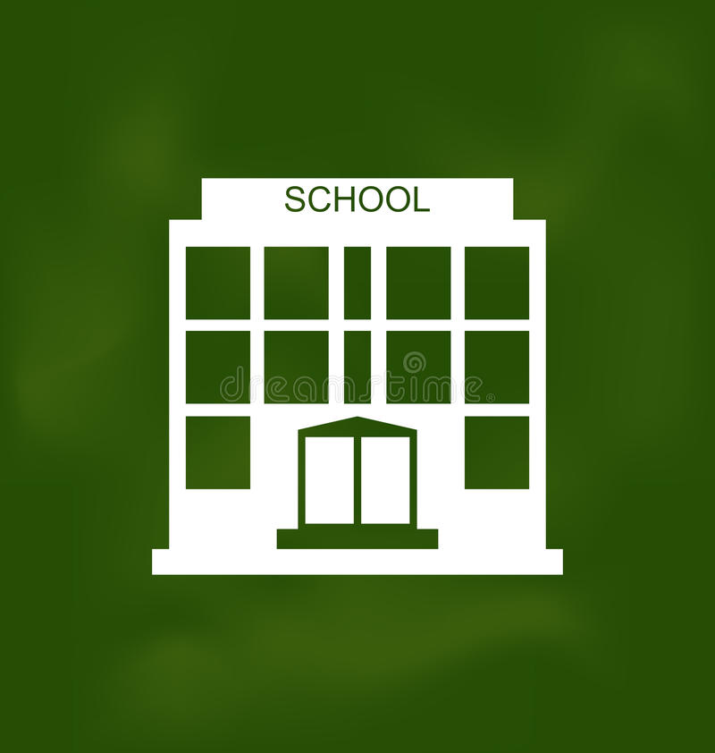 School Building Painted with Chalk on Blackboard stock illustration