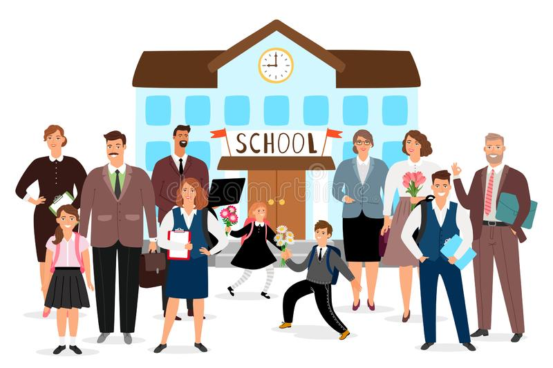 School building, teachers and students vector illustration vector illustration