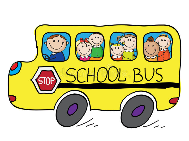 School bus. Full with smiling children isolated on white