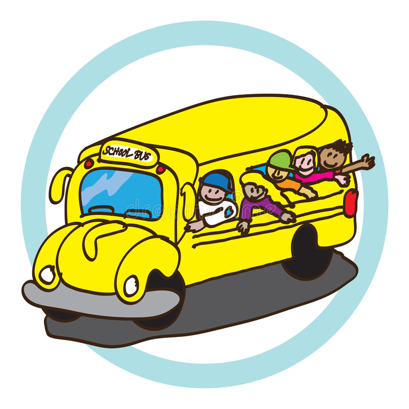 School bus. Vector illustration yellow color with happy students kids isolated over white background vector illustration