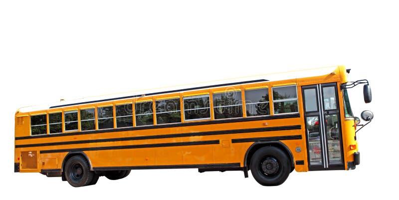 School Bus. Single school bus isolated on white background stock photos