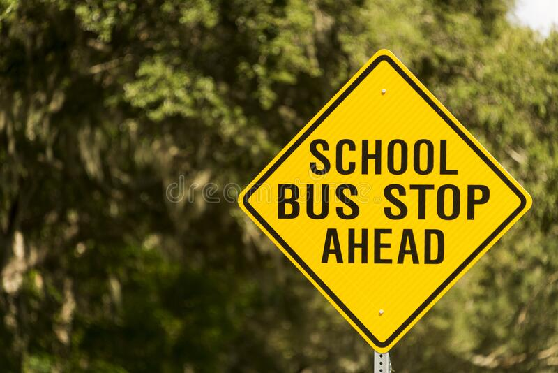 School bus ahead warning sign royalty free stock photo