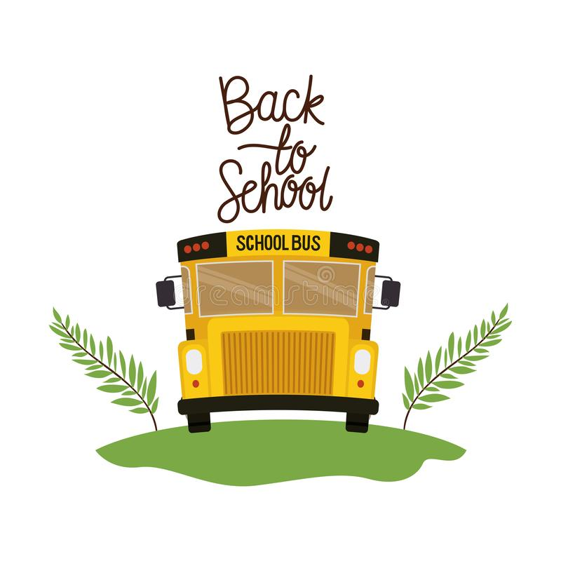 School bus with back to school label vector illustration