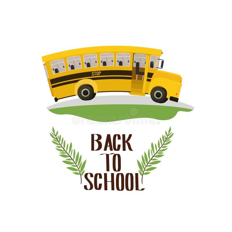 School bus with back to school label. Vector illustration design stock illustration