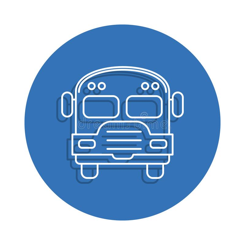 School bus badge icon. Element of education for mobile concept and web apps icon. Thin line icon with shadow in badge for website. Design and development, app vector illustration