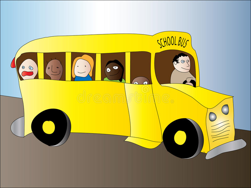School Bus Children. Vector illustration of a yellow school bus with diverse children smiling playing laughing on their way to school stock illustration