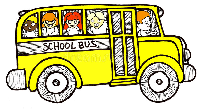 School Bus Children. Illustration of a yellow school bus with diverse children smiling playing laughing on their way to school vector illustration