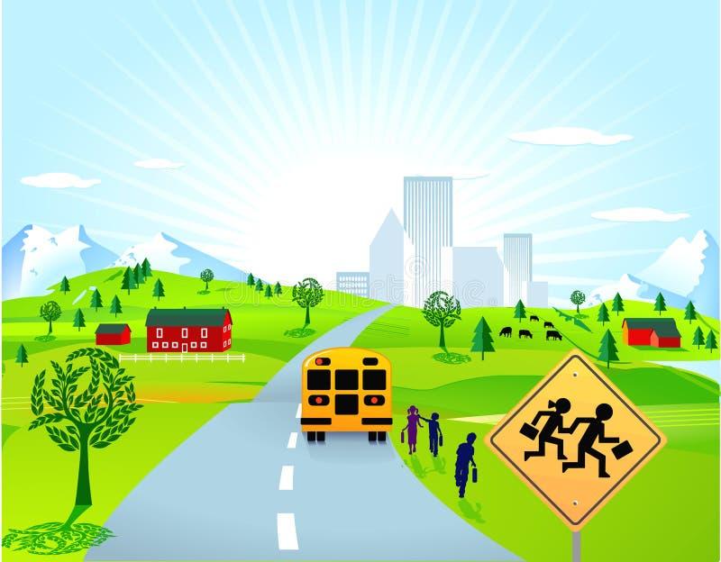 Download School bus and children stock vector. Image of road, sidewalk - 16646323