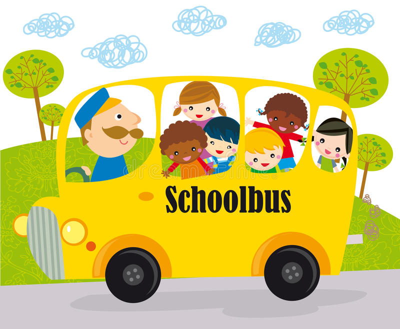School bus children. School bus heading to school with happy children
