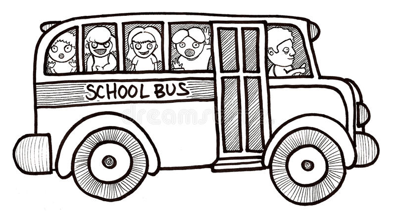 Download School Bus Children Black And White Stock Illustration - Image: 9818583