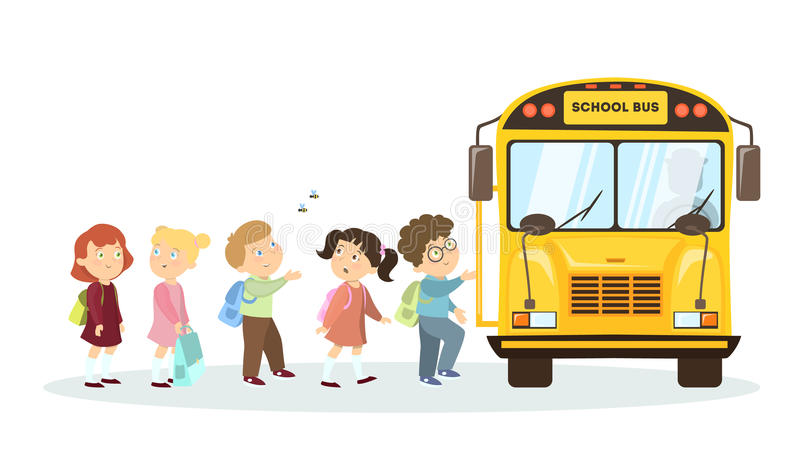 School bus and children. vector illustration