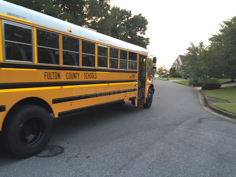 Download School bus editorial stock photo. Image of trees, road - 59170088