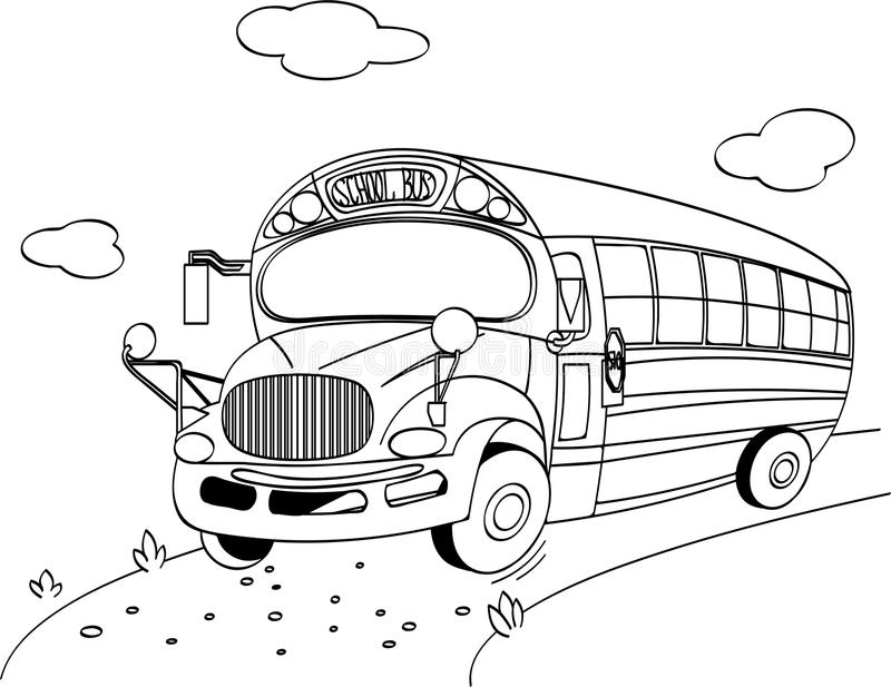 School Bus Coloring Page Royalty Free Stock Photography