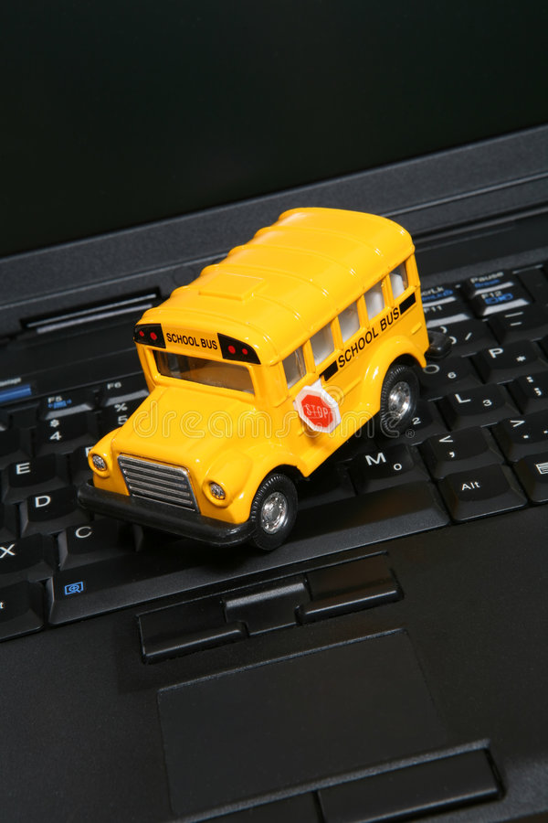 School Bus on Computer royalty free stock image