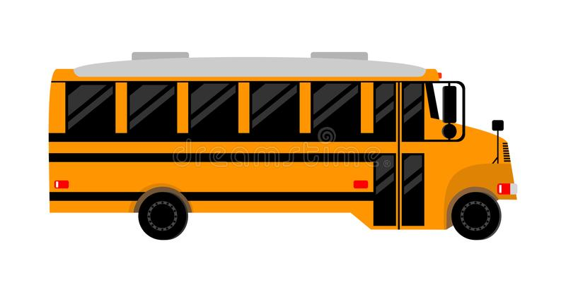 School bus.isolated image. School bus with darkened Windows, side view.isolated image stock illustration