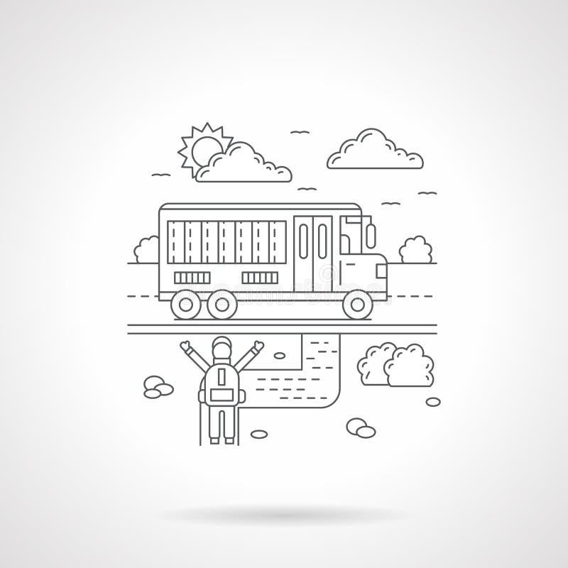 School bus detail line icon royalty free illustration