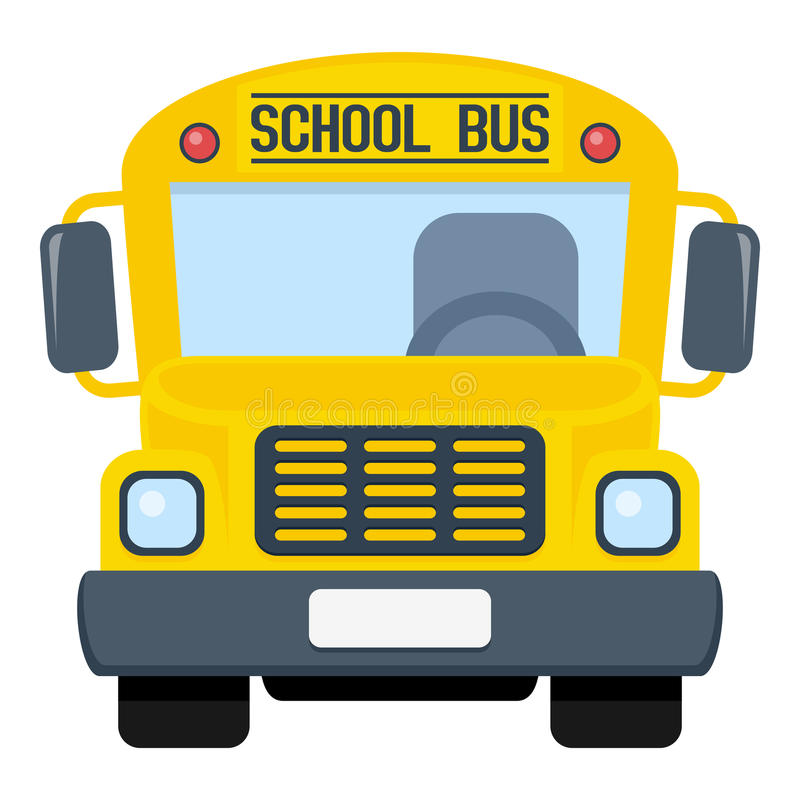 School Bus Flat Icon Isolated on White. Yellow school bus flat icon, isolated on white background. Eps file available stock illustration